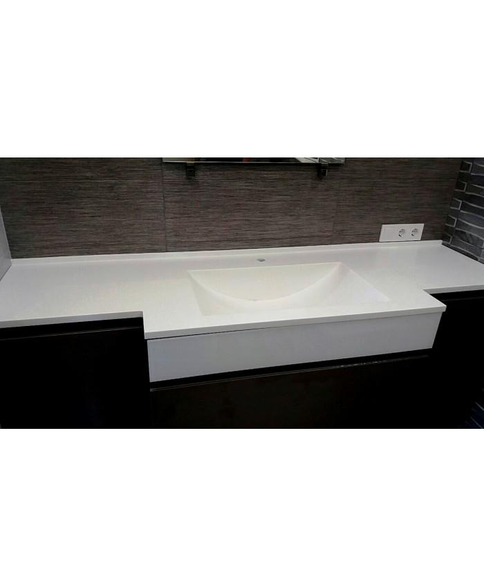 Акриловый мойдодыр Samsung с интегрированной мойкой в ванную комнату