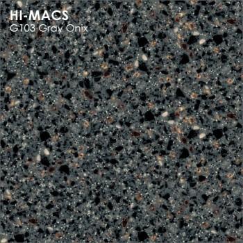 Образец искусственного камня от производителя LG HI-MACS Granite коллекция G103 GRAY ONIX..