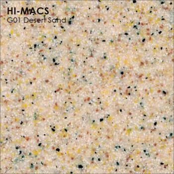 Образец искусственного камня от производителя LG HI-MACS Sand коллекцияG01 DESERT SAND..