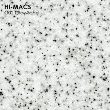 Образец искусственного камня от производителя LG HI-MACS Sand коллекцияG02 GRAY SAND..